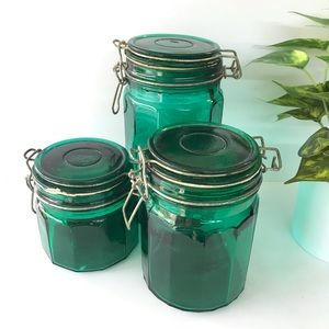 Vintage 3pc Green Glass Canisters with Lids